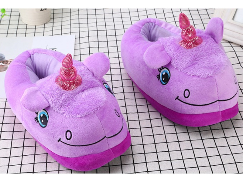 Тапочки фиолетовый единорог